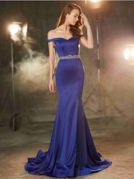 Trumpet/Mermaid Royal Blue Satin Sweep/Brush Train Dresses with Crystal