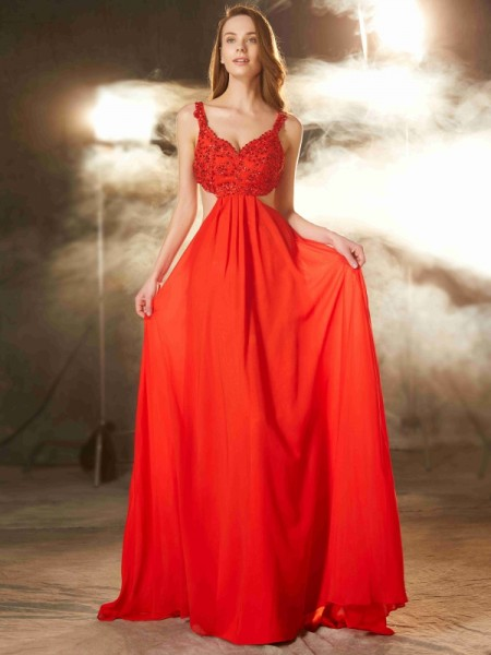 A-Line/Princess Red Chiffon Floor-Length Dresses with Applique