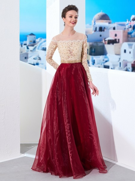 A-Line/Princess Burgundy Organza Floor-Length Dresses with Applique