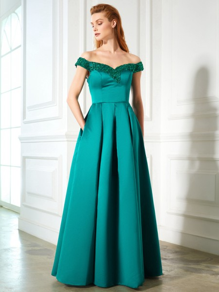 A-Line/Princess Green Satin Floor-Length Dresses with Sequin