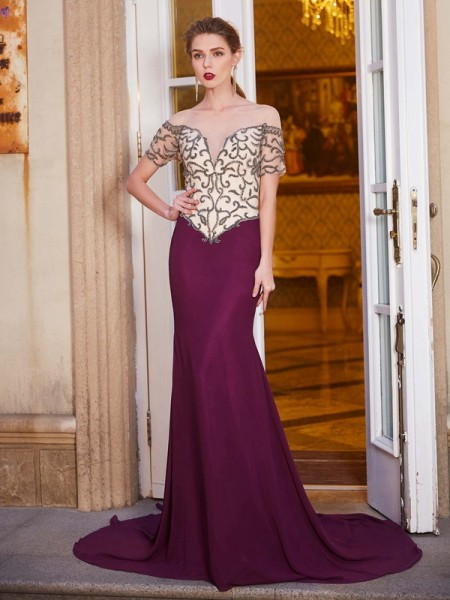 Sheath/Column Burgundy Chiffon Court Train Dresses with Beading