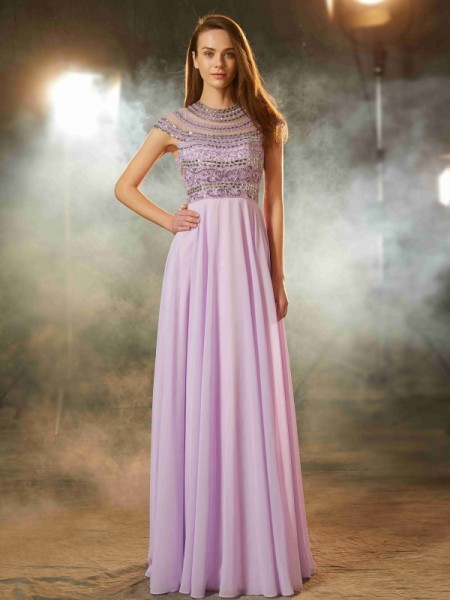 A-Line/Princess Lavender Chiffon Floor-Length Dresses with Beading