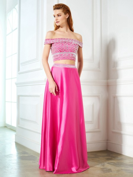 A-Line/Princess Fuchsia Satin Floor-Length Dresses with Beading