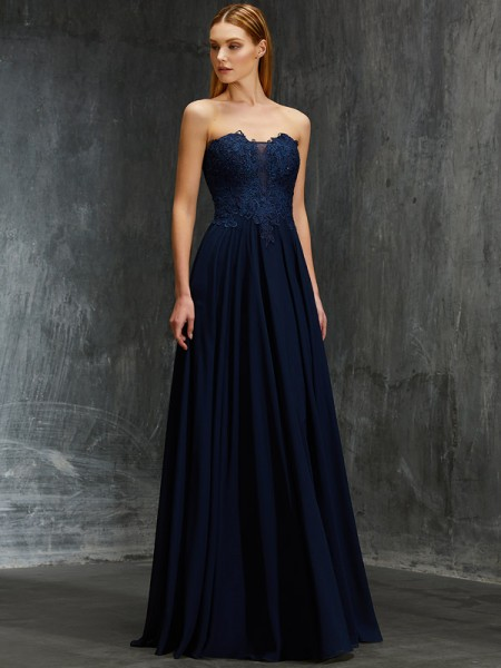 A-Line/Princess Dark Navy Chiffon Floor-Length Dresses with Applique