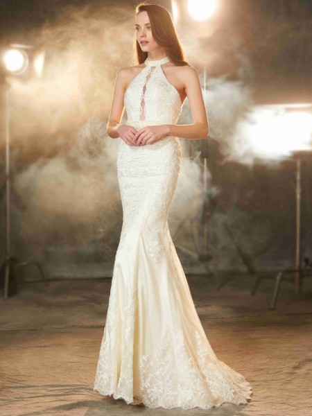 Sheath/Column Ivory Elastic Woven Satin Floor-Length Dresses with Applique