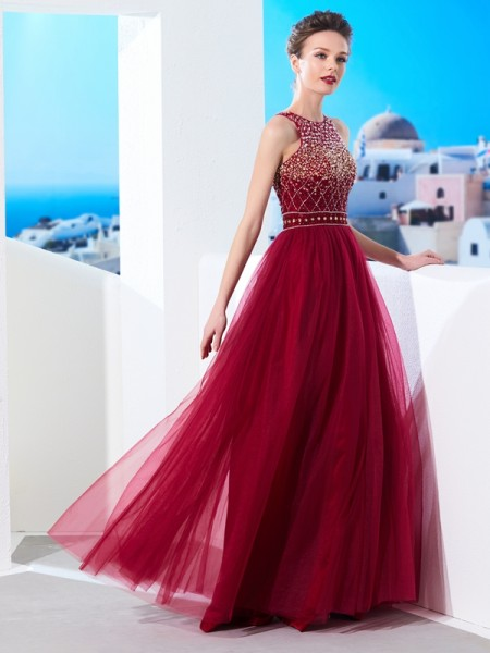 A-Line/Princess Burgundy Tulle Floor-Length Dresses with Beading