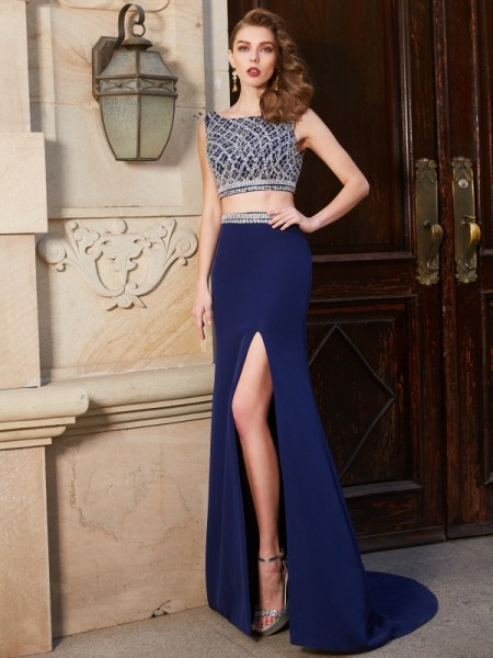 Sheath/Column Dark Navy Elastic Woven Satin Sweep/Brush Train Dresses with Beading
