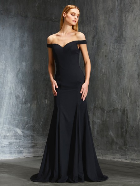 Trumpet/Mermaid Black Satin Sweep/Brush Train Dresses with Ruffles