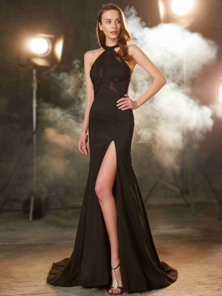 Sheath/Column Black Elastic Woven Satin Sweep/Brush Train Dresses with Beading