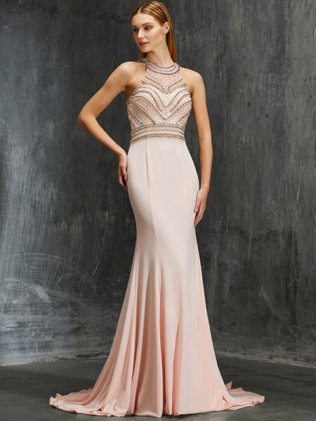 Sheath/Column Pearl Pink Spandex Sweep/Brush Train Dresses with Beading