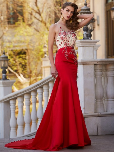 Trumpet/Mermaid Red Court Train Dresses with Applique