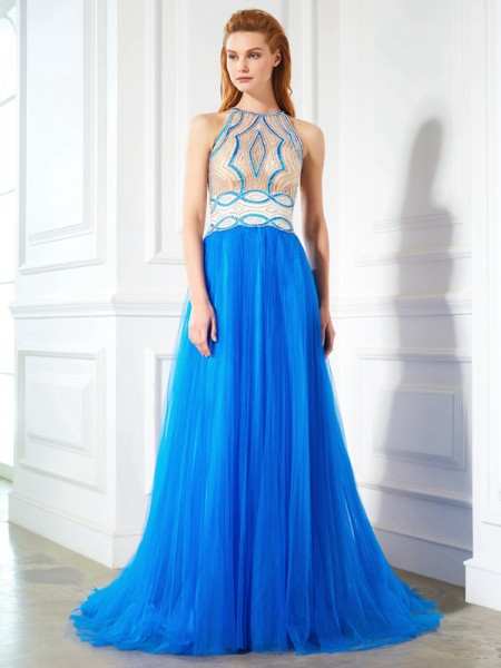 A-Line/Princess Royal Blue Net Floor-Length Dresses with Beading