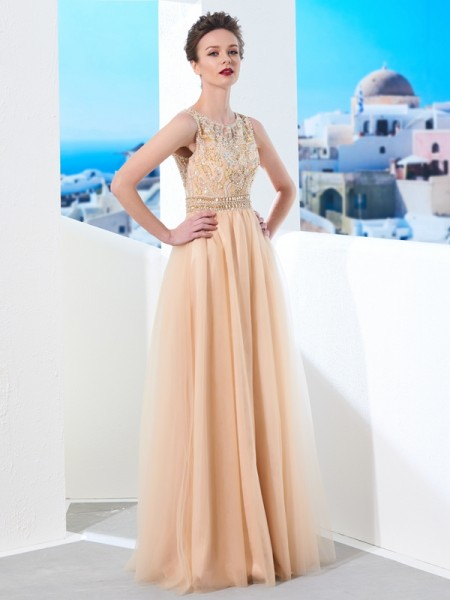 A-Line/Princess Champagne Tulle Floor-Length Dresses with Beading