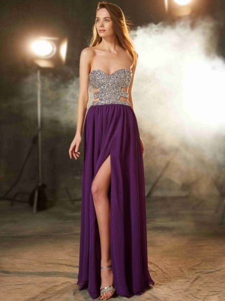 A-Line/Princess Grape Chiffon Floor-Length Dresses with Crystal