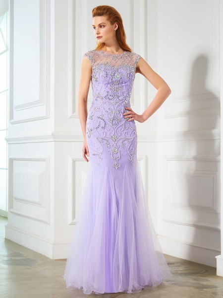 Trumpet/Mermaid Lilac Tulle Floor-Length Dresses with Beading