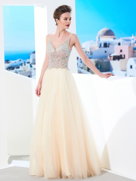Ball Gown Champagne Tulle Floor-Length Dresses with Beading