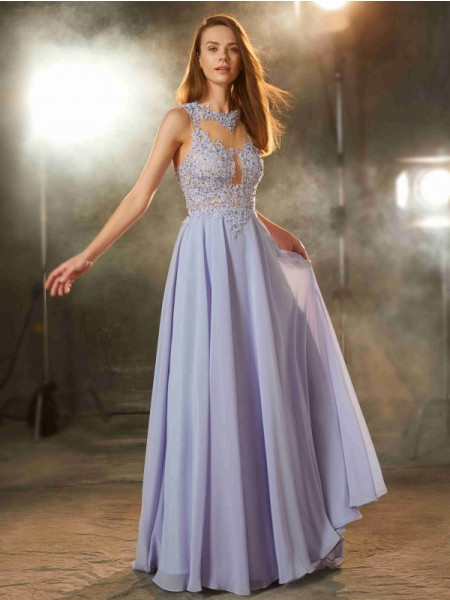 A-Line/Princess Lavender Chiffon Floor-Length Dresses with Applique