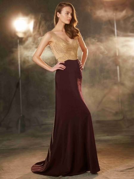 Sheath/Column Burgundy Jersey Sweep/Brush Train Dresses with Beading
