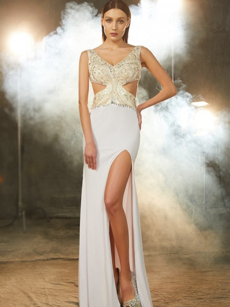 Sheath/Column White Spandex Floor-Length Dresses with Beading
