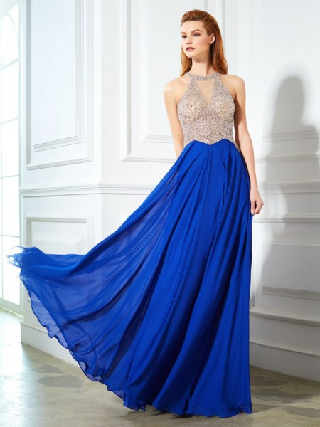 A-Line/Princess Royal Blue Chiffon Floor-Length Dresses with Crystal