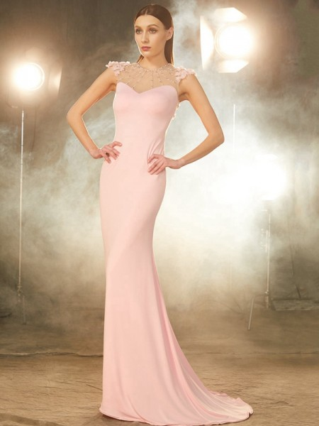 Trumpet/Mermaid Pink Spandex Sweep/Brush Train Dresses with Beading