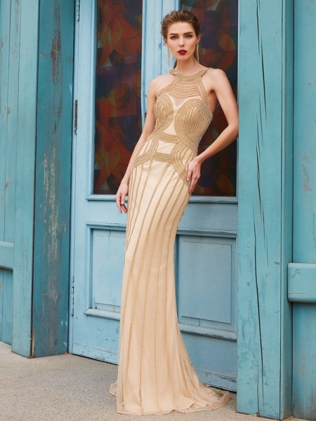 Sheath/Column Gold Net Sweep/Brush Train Dresses with Beading