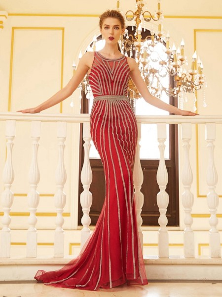 Sheath/Column Red Net Sweep/Brush Train Dresses with Beading