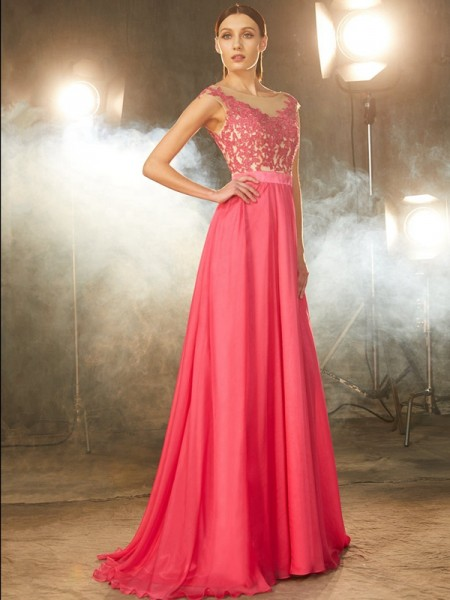 A-Line/Princess Watermelon Chiffon Sweep/Brush Train Dresses with Applique