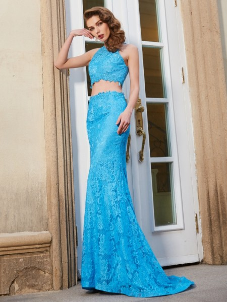 Sheath/Column Blue Lace Sweep/Brush Train Dresses with Lace