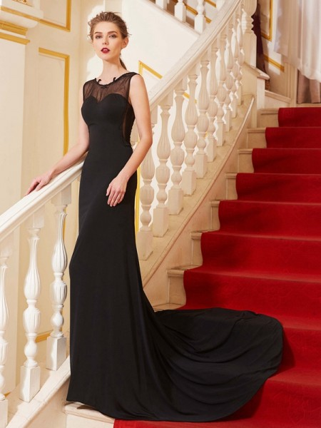 A-Line/Princess Black Spandex Sweep/Brush Train Dresses with Beading
