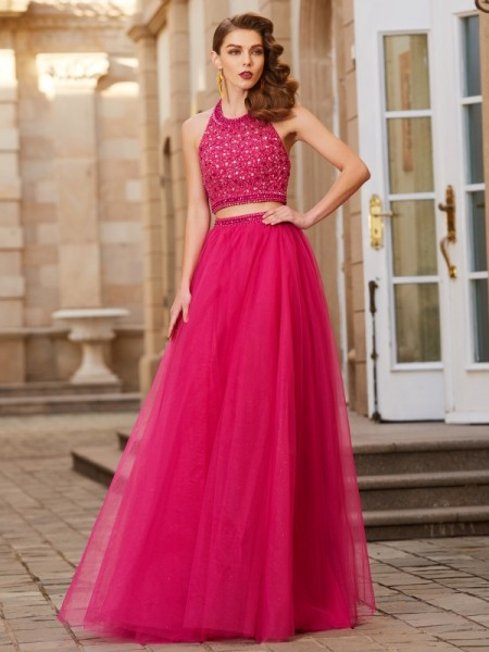 A-Line/Princess Fuchsia Tulle Floor-Length Dresses with Beading