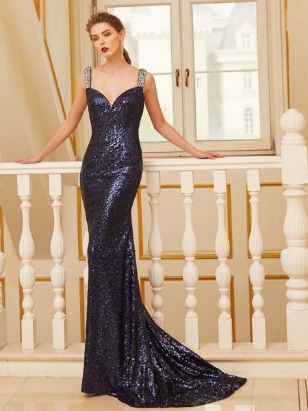 Sheath/Column Dark Navy Sequins Sweep/Brush Train Dresses with Beading