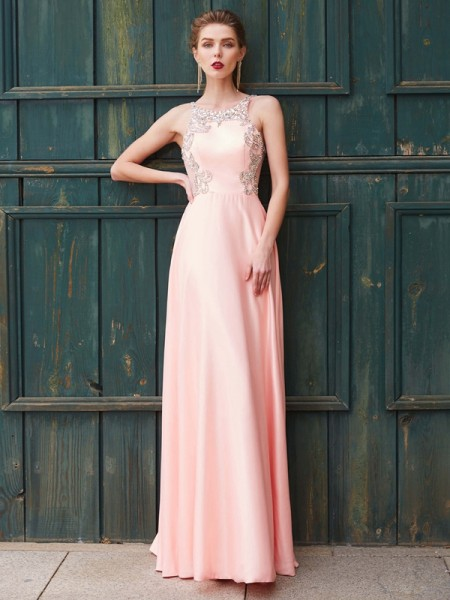 A-Line/Princess Pink Satin Floor-Length Dresses with Beading