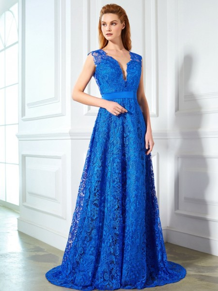 A-Line/Princess Royal Blue Lace Sweep/Brush Train Dresses with Bowknot