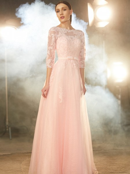 A-Line/Princess Pearl Pink Tulle Floor-Length Dresses with Applique