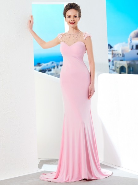 Trumpet/Mermaid Pearl Pink Spandex Sweep/Brush Train Dresses with Beading