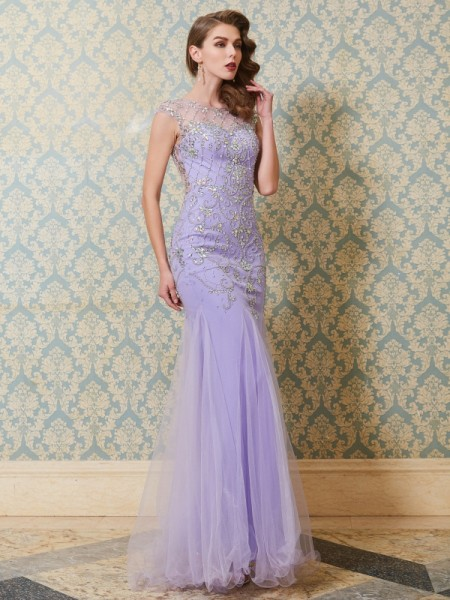 Trumpet/Mermaid Lavender Tulle Floor-Length Dresses with Beading