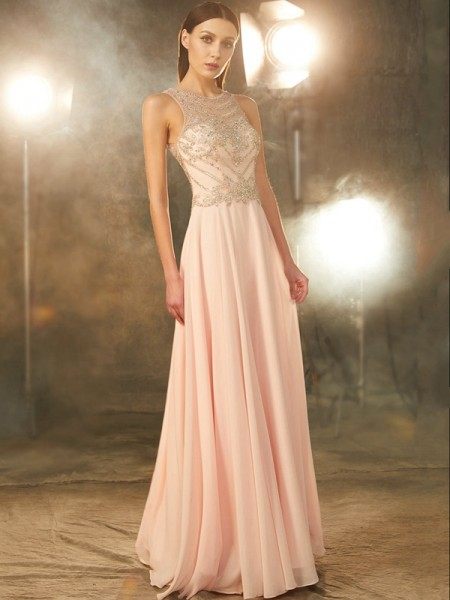 A-Line/Princess Pearl Pink Chiffon Floor-Length Dresses with Crystal