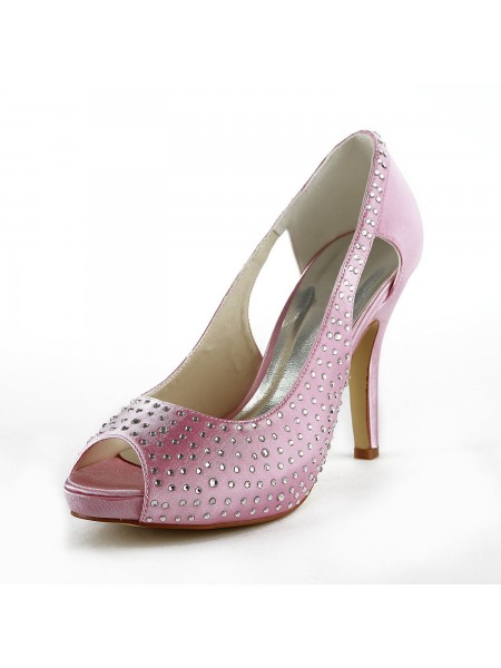 SheenOut Beautiful Satin Stiletto Heel Peep Toe With Rhinestone Pink Wedding Shoes S137034