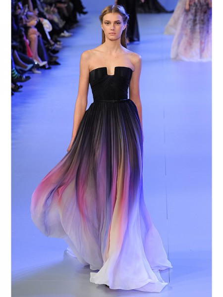 A-Line/Princess Multi Colors Chiffon Sweep/Brush Train Dresses with Pleats