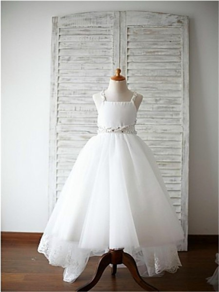 0ee76ace42c A-Line Princess White Organza Sweep Brush Train Flower Girl Dresses with  Beading