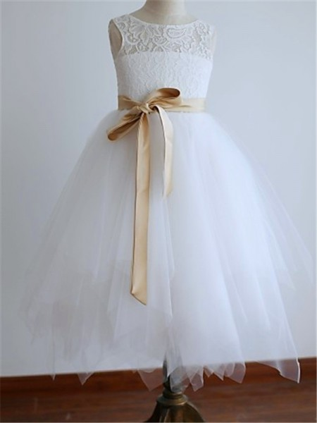 A-Line/Princess White Tulle Floor-Length Flower Girl Dresses with Sash/Ribbon/Belt