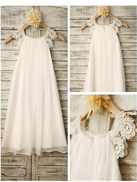 A-Line/Princess White Chiffon Floor-Length Flower Girl Dresses with Lace