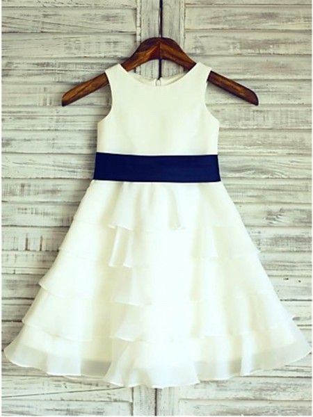 A-Line/Princess White Chiffon Floor-Length Flower Girl Dresses with Ruffles