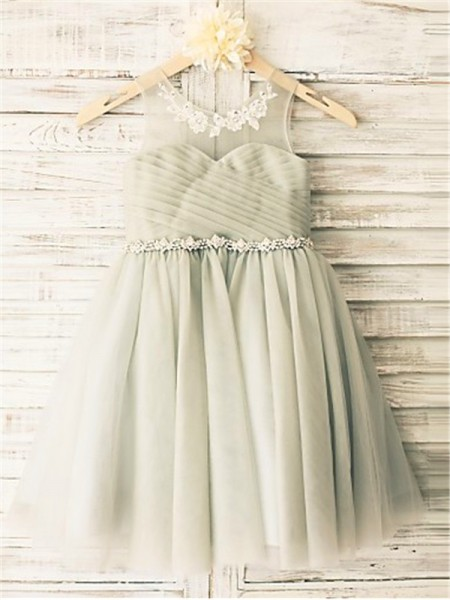 A-Line/Princess Grey Tulle Tea-Length Flower Girl Dresses with Beading