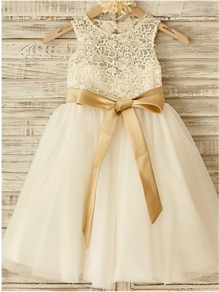 3a9c09c4511 A-Line Princess Ivory Tulle Floor-Length Flower Girl Dresses with Bowknot
