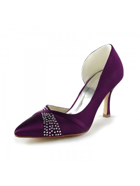 SheenOut Fashion Satin Stiletto Heel Pumps With Rhinestone Grape Wedding Shoes S1A315