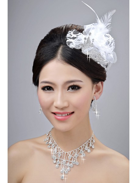 Gorgeous Alloy Clear Crystals Wedding Headpieces Necklaces Earrings Set
