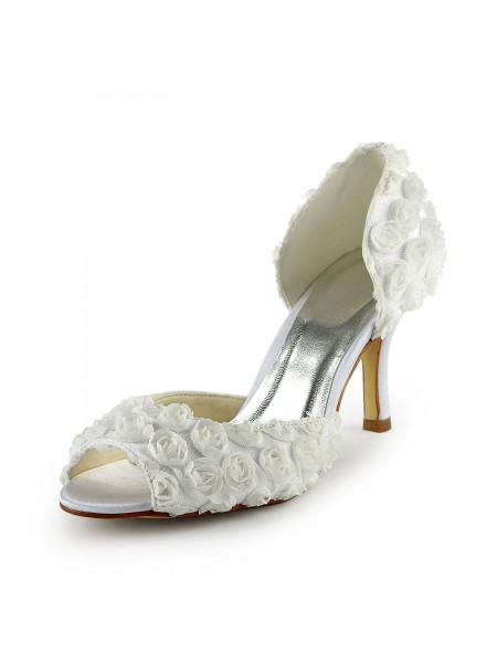 SheenOut Gorgeous Satin Stiletto Heel Peep Toe With Flowers White Wedding Shoes S1A31B1A