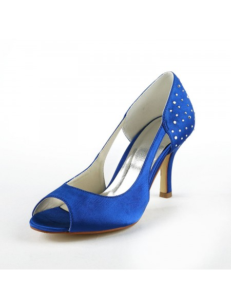 SheenOut Gorgeous Satin Stiletto Heel Peep Toe With Rhinestone High Heels S1A31B17